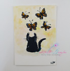 ACEO cat #9 ORIGINAL painting black cat butterfly monarch pet whimsical-w/SIZES