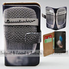 For Huawei Series Vintage Microphone Theme Print Wallet Mobile Phone Case Cover