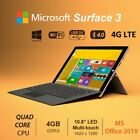 "Microsoft Surface 3 Tablet 10.8"" Intel Quad Core 64/128GB  SSD Win10 MS Office"