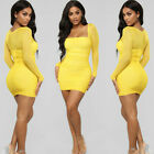 Sexy Womens Mesh Bodycon Mini Dress Long Sleeve Evening Party Cocktail Dresses