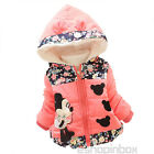 Toddler Kids Baby Boy Girl Winter Minnie Mouse Hooded Coat Jacket Outwear 1-4Y