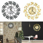 Vintage 3D Wall Clock Roman Numeral Flower Wrought Iron Silent Watch Room Decor