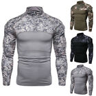 Mens Army Combat Tactical T Shirt Military Camouflage Long Sleeve Camo T-Shirts image