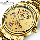 Men Skeleton Stainless Steel Band Gold Automatic Mechanical Business Wrist Watch image
