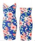 BLUE COWL NECK BODYCON WIGGLE PENCIL FLORAL MIDI DRESS VINTAGE ROCKABILLY
