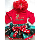 Christmas Newborn Baby Girl Romper Top+Tutu Shorts Bow Dress Outfit Clothes