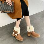 Women Round Toe Bowknot Warm Fur Lining Winter Ankle Boots Sweet Lolita Shoes
