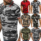 Mens Short Sleeve Sport Tees Golf Summer T Shirts Camouflage Floral Printed Tops