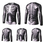 Men's Halloween Long Sleeve T-Shirts Crew Neck 3D Skeleton Casual Pullover image