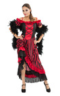 Womens Red Saloon Girl Costume Sexy Can Can Western Movie Moulin Rouge Dress