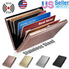 Anti-scan Stainless Steel Case Slim RFID Blocking Wallet ID Credit Card Holder image