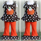 US Toddler Baby Girl Halloween Sleeveless Ruffle Tops Dress Flared Pants Clothes
