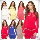 Women's Jumper Dress Long Pullover Stretchy Fitted Ladies Sweater One Size 6-12
