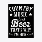 "Country Music Beer Thats Why Im Here Gift Poster - 18""x24"""