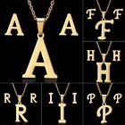 Chic Stainless Steel Gold Capital Letter Jewelry Set Pendant Necklace Earrings