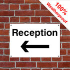 Reception with left arrow hotel safety sign HOT08 durable and weatherproof