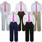 3pc Fuchsia Tie Shirt Suit for Baby Boy Toddler Kid Pants Color by Selection