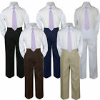 3pc Lilac Lavender Tie Shirt Set for Baby Boy Toddler Kid Pants Color by Choice