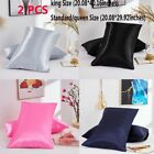 2X Pure Silk Pillow Soft Case Pillowcase Cover Queen Standard King Size Cushion image