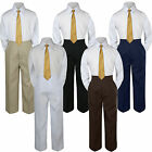 New 3pc Gold Shirt Formal Suit for Baby Boy Toddler Kid Pants Color by Selection