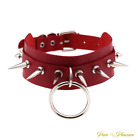 Ladies Vegan Faux Leather Choker Spike Collar with 'O' Ring, Bondage Style.