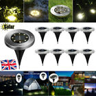 8LED Solar Power Buried Light Underground Lamp Lawn Pathway Decking Lighting UK