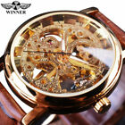 Winner Mens Vintage Leather Strap Hand Wind Up Mechanical Skeleton Wrist Watch