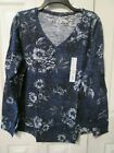 SONOMA The Everyday Teel Woman's Long Sleeve Floral V- Neck Tops, Sizes XL, XXL