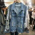 Womens Ladies Fashion Sequin Ripped Denim Jeans Loose Jacket Coat Outwear BTRE