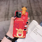 For iPhone 11 Pro Max XS XR X 7 8 Plus Christmas 3D Snowman Elk Doll Case Cover
