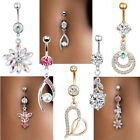 Navel Belly Button Ring Crystal Flower Dangle Bar Barbell Body Piercing Jewelry image