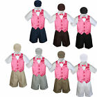 5pc Set Boy Toddler Formal Coral Vest Bow Tie of Taupe Khaki Gray Hat Shorts