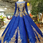 New Royal blue Vintage Long Sleeves Wedding Dress Gold Lace Embroidery Appliqure