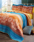 Queen or King Size Quilt Set Bedding Vibrant Sunset Blue Gold Spice Tones Shams image