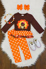 NEW Boutique Girls Thanksgiving Turkey Ruffle Tunic  Leggings Outfit Set