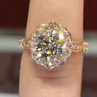 Flower Shape Round 8mm Zircon Rose Gold Ring Graceful Line Woman Jewelry
