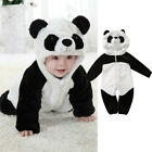 Newborn Baby Boy Girl Panda Flannel Romper Jumpsuit Outfits Warm Clothes Winter