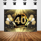 Custom 40th Birthday Backdrop Black and Gold Champagne Party Photo background