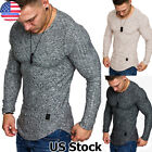 Mens Slim Fit Long Sleeve T Shirt Fashion Casual Sport Muscle Fitted Top Gym Tee image