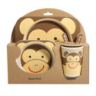 5 Piece Set Child Bamboo Fibre Dishware Set Plate Bowl Cup Fork Spoon