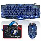 BlueFinger LED Gaming Keyboard Mouse Headset USB Wired 3 Color Keyboard NEW