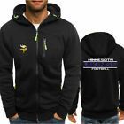 Minnesota Vikings Rugby Team Hoodie Zipper Print Sweatshirt Football Jacket Coat