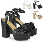 Womens Ankle Strap Sandals Ladies Block Heel Platform Party Peep Toe Shoes