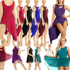 US Women High Low Ballet Dress Lyrical Liturgical Latin Dance Leotard Mini skirt