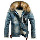 Men's Casual Coat Jean Jacket Denim Warm Fur Collar Fleece Lined Winter US 34-42