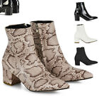 Womens Low Heel Ankle Boots Ladies Pointed Toe Zip Booties Shoes Size 3-8