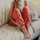 New Women Winter Thermal Thick Fleece Lined Trousers Pants Pajama Solid Casual