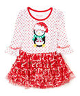 NWT Nannette Penguin Long Sleeve Red Girls Christmas Holiday Tutu Dress