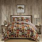 RUSTIC LODGE TAN BROWN RED MOOSE BEAR FISH TREE COUNTRY LOG CABIN SOFT QUILT SET
