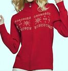 Red Sweater with Embroidered Snowflake Zip up Winter Holiday Christmas Sm or Med